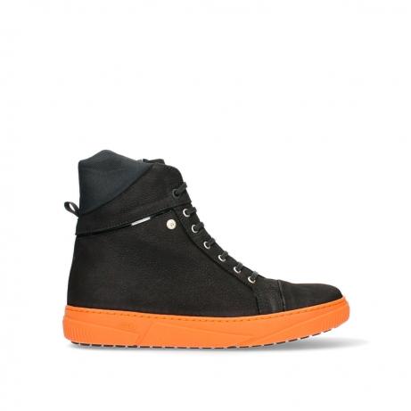 wolky bottines 02075 wheel 11056 nubuck noir orange