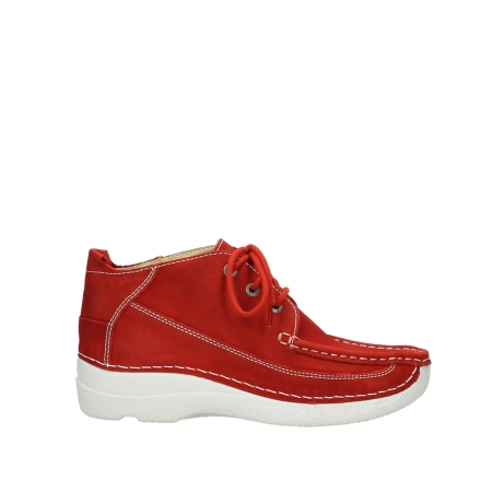 wolky chaussures a lacets 06200 roll moc 11570 nubuck rouge