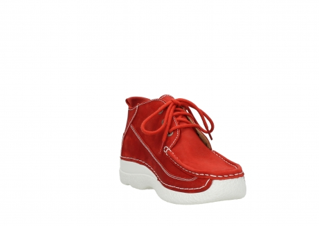 wolky chaussures a lacets 06200 roll moc 11570 nubuck rouge_17